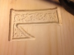 Close up on the celtic letter carving