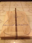 Planed body balks rough fit to the template with the walnut center strip
